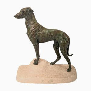 Sculpture Lévrier Sloughi par Jules Edmond Masson pour Max Le Verrier