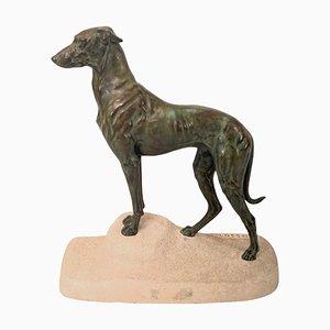 Skulptur in Sloughi Windhund-Optik von Jules Edmond Masson für Max Le Verrier