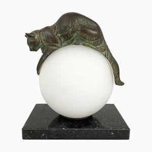 Équilibre beleuchtete Katzenskulptur von Eugène Gaillard für Max Le Verrier