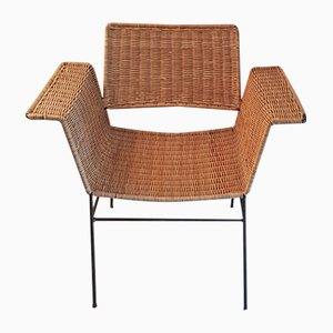 Mid-Century German Wicker Armchair by Herta Maria Witzemann for Erwin Behr, 1960s