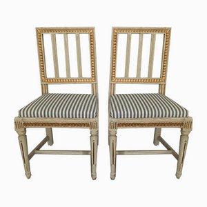 Antiker schwedischer Beistellstuhl, 2er Set