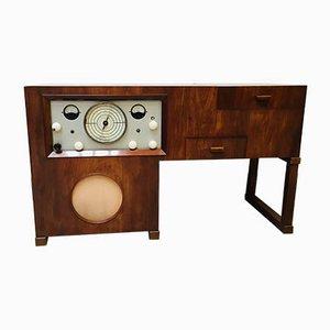 Vintage Plattenspieler und Radio Sideboard