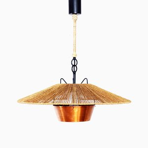 Lámpara de araña escandinava moderna de cobre y metal, años 60