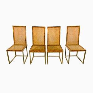 Französische Esszimmerstühle aus Messing von Willy Rizzo, 1970er, 4er Set