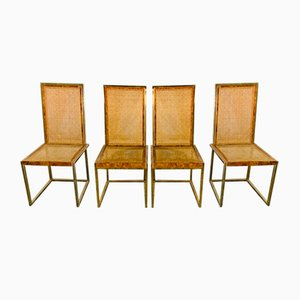 French Brass Dining Chairs by Willy Rizzo, 1970s, Set of 4
