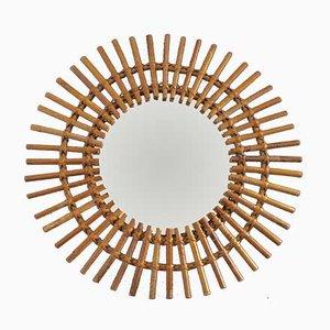 Espejo en forma de sol francés Mid-Century de ratán