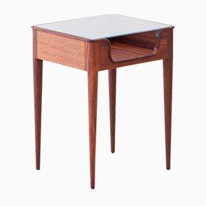 Italienischer Nachttisch aus Glas & Holz von Fratelli Strada, 1950er