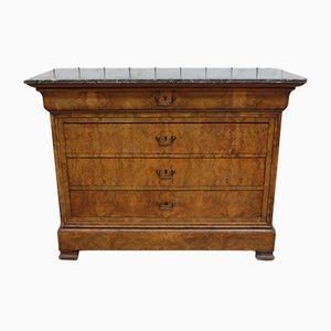 Antique French Marble and Walnut Dresser