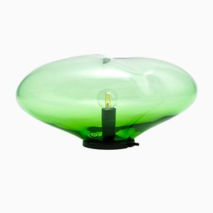 Small Green Iridescent Planetoide Flora Table Lamp by Simone Lüling for ELOA