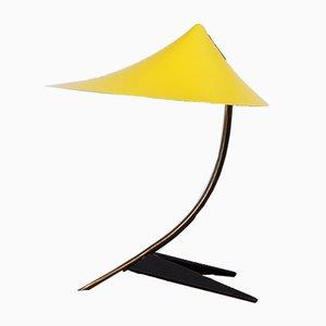 Pagode gelbe Tischlampe aus Messing mit Krähenfuß von Cosack, 1950er