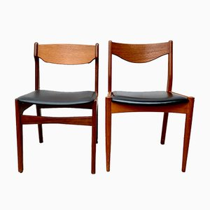 Danish Teak and Vinyl Dining Chairs, 1960s, Set of 2