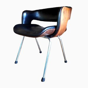 Space Age Rosewood and Steel Side Chair by Martin Grierson for Arfex Hispania, 1963