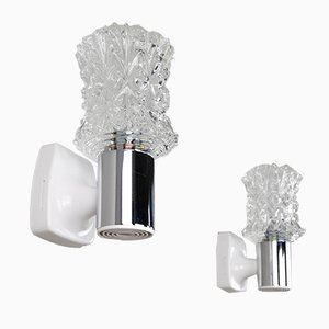 Italian Chrome Plating and Cut Glass Sconces from Targetti, 1970s, Set of 2