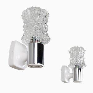 Italienische verchromte Wandlampen aus geschliffenem Glas von Targetti, 1970er, 2er Set