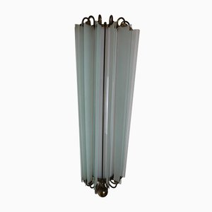 Mid-Century Brass and Frosted Glass Sconce, 1950s