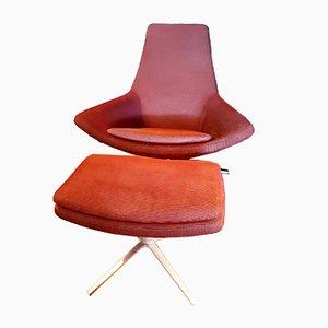 Italian Aluminum Club Chair and Ottoman by Jeffrey Bernett for B&B Italia, 2003