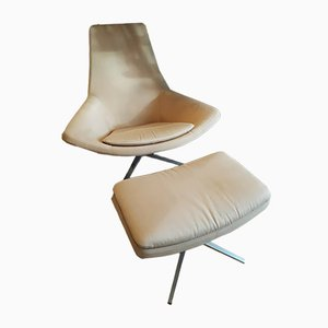 Italian Modern Aluminum Club Chair and Ottoman by Jeffrey Bernett for B&B Italia, 2003