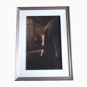 Charcoal and Sanguine Chalk Horses Drawing by Sergio Matini, 1966