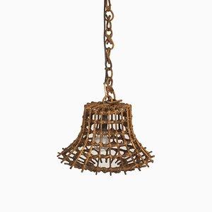 Mid-Century Italian Wicker Ceiling Lamp, 1960s