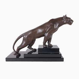 Jungle Brown Panther Skulptur von Max Le Verrier
