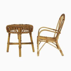 Juego de asiento y mesa italiano Mid-Century de bambú y mimbre, años 50