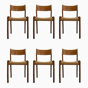 Wood & Woven Cord Dining Chairs, 1950s, Set of 6