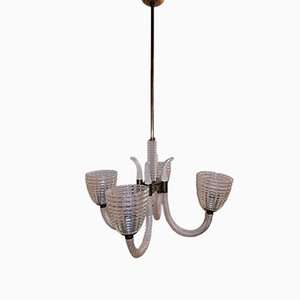 Italian Bronze & Murano Glass 4-Light Chandelier by Ercole Barovier, 1940s