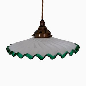 Vintage French Frill Handkerchief Shade with Green Edge