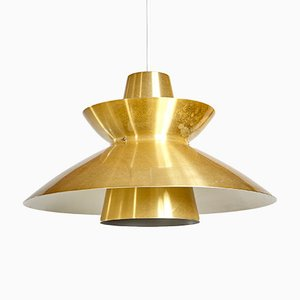 Mid-Century Danish Brass Lamelled Pendant Lamp, 1960s