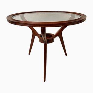 Mid-Century Italian Cherry and Glass Coffee Table, 1950s