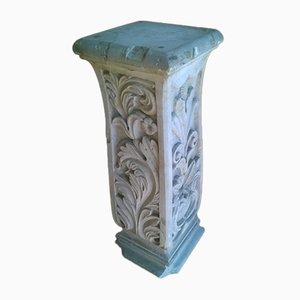 Antique Carved 4-Sided Marble Column