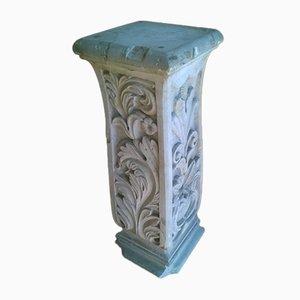 Geschnitzte antike 4-seitige Marmorsäule