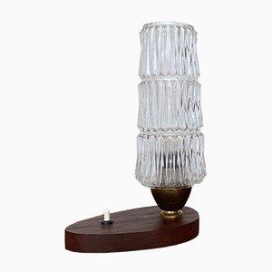 Mid-Century Lampe mit Fuß aus Teak & Glasschirm