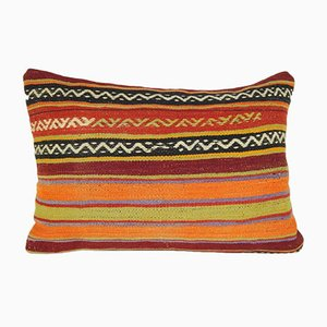 Striped Hand Woven Kilim Lumbar Pillow Cover from Vintage Pillow Store Contemporary