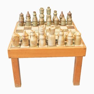Chess Table & Pieces from Maison Regain, 1970s