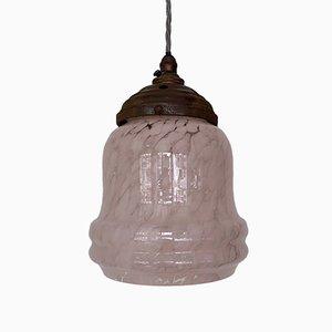 Lámpara colgante francesa de vidrio rosa, años 40