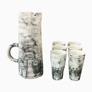 Ceramic Pitcher and 6-Cup Set by Jacques Blin, 1950s