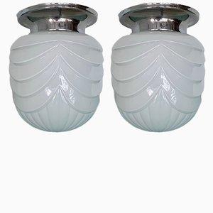 Lampade a sospensione in metallo cromato e vetro, set di 2, anni '30
