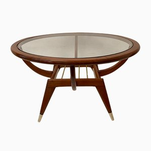Mid-Century Brass and Glass Coffee Table, 1950s