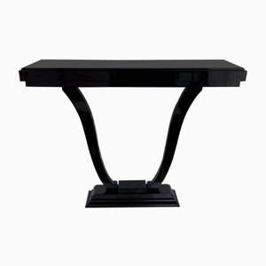 Vintage Art Deco French Black Lacquered Wooden Console Table, 1930s