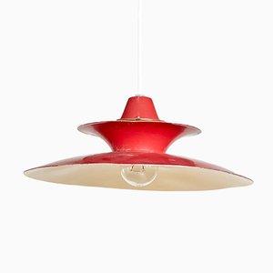 Lámpara colgante Mid-Century de metal rojo, años 60