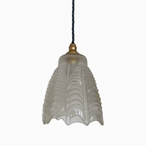 French Scalloped Frosted Shade, 1940s