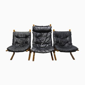 Mid-Century Beech and Leather Lounge Chairs by Ingmar Relling for Westnofa, Set of 3