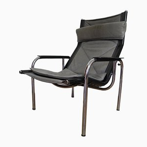 Modernist Chrome Plating and Leather Lounge Chair by Hans Eichenberger for Strässle, 1970s