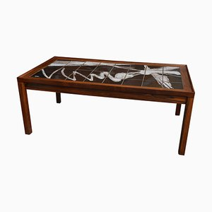 Danish Ceramic and Rosewood Coffee Table by Ole Bjørn Krüger, 1960s