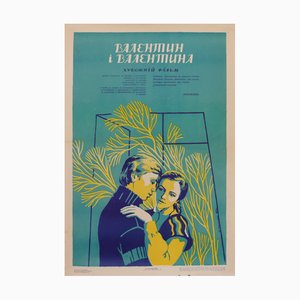 Vintage Russian Couple Movie Poster, 1980s