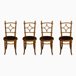 Antique Edwardian Bentwood Dining Chairs, Set of 4