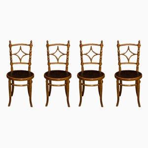 Sedie da pranzo edoardiane antiche in legno, set di 4