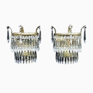 Italian Art Deco Crystal Glass Wall Lights, 1930s, Set of 2