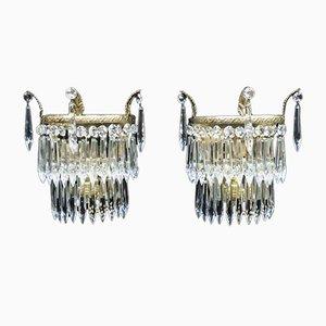 Italienische Art Deco Wandlampen aus Kristallglas, 1930er, 2er Set